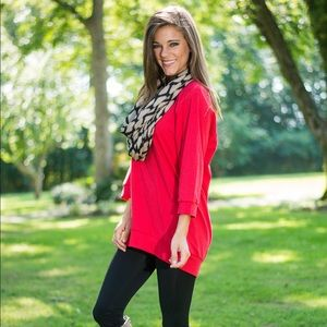 Slouchy Dolman tunic - red